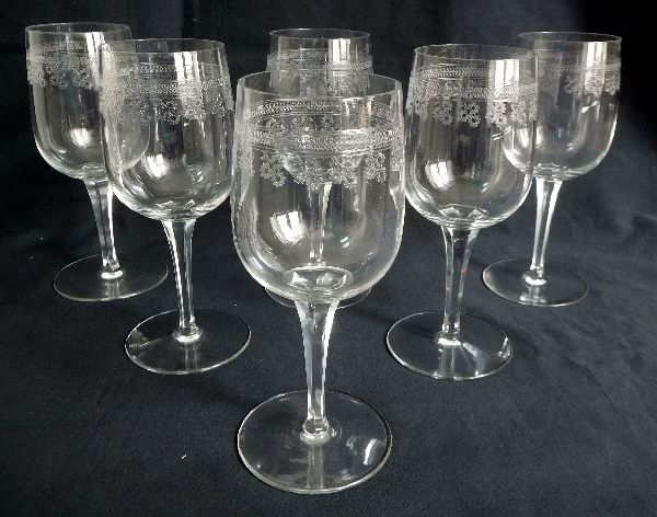 Baccarat - 6 crystal wine glasses, model Pompadour, France, 1900 period