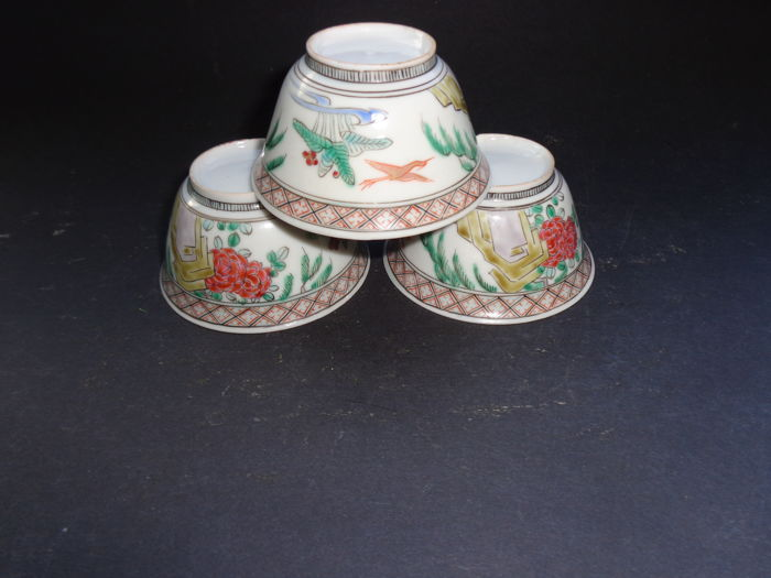 Three cups Famille Rose - Japan - approx. 1920
