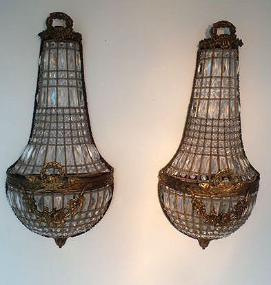 Wonderful set of classic wall chandeliers, France, 20th century