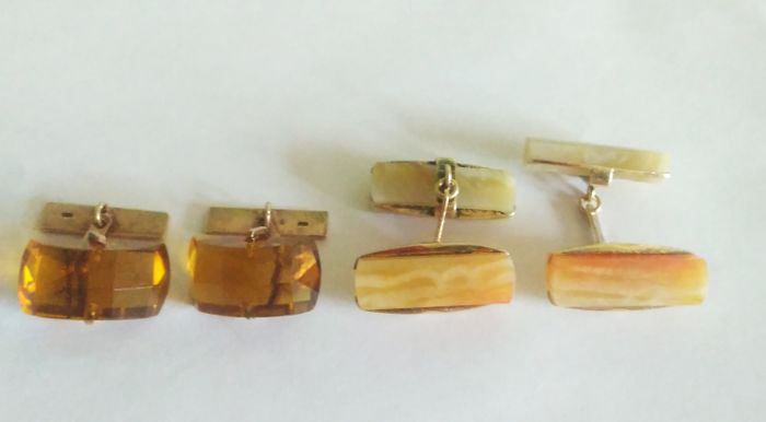 Two pairs of cuff links with stones Citrine, Carnelian and Сhalcedony silver stamps 875 Russia 1950-1960's