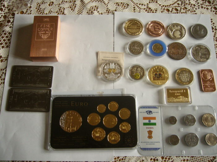 1 kilo Swiss copper + 2 bullion titanium 999/1000 + 14 bullion coin + set 9 coin Cyprus gold plated and rhodium + set coin Indian