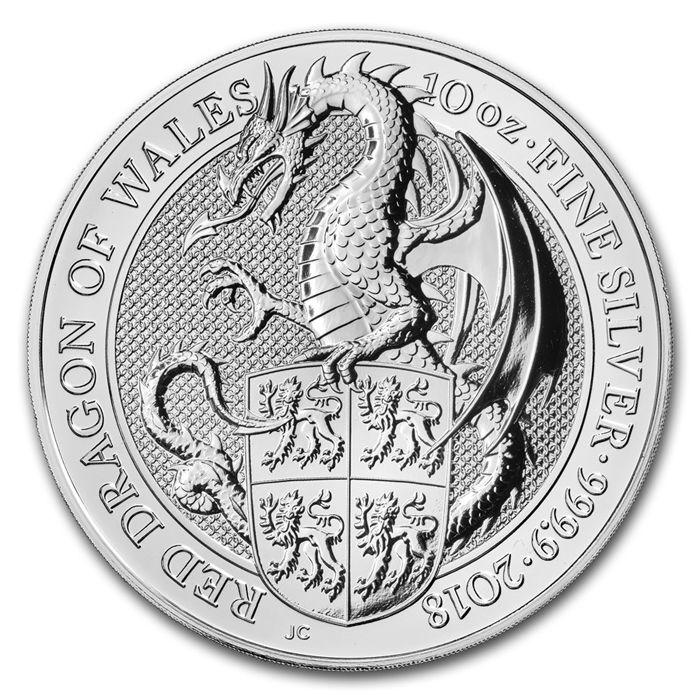 Royaume-Uni - 10 Pound 2018 Queens Beast Dragon of Wales - 10 oz 999 - Argent