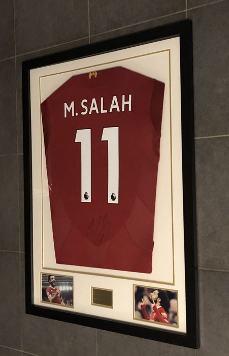 eabd4f48fe0 Mohamed Salah signed framed Liverpool FC home shirt 2017-2018 with photos  of the moment