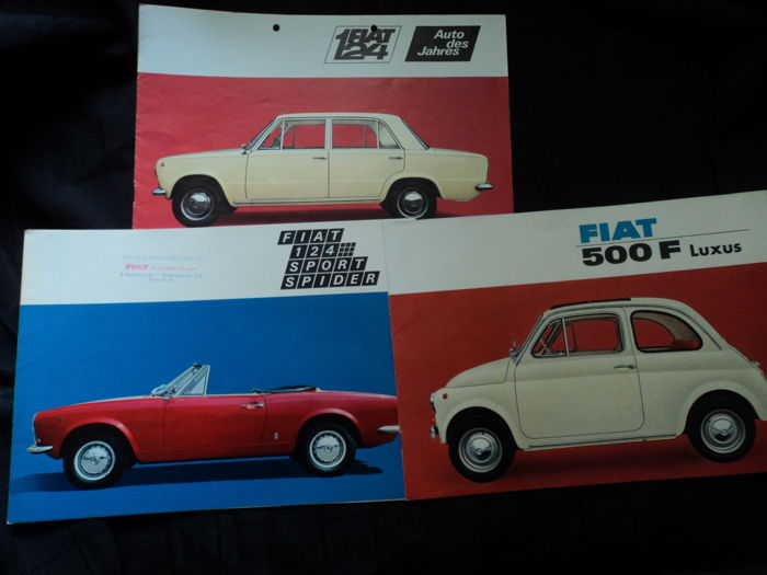 3 Fiat brochures, all from the 60s