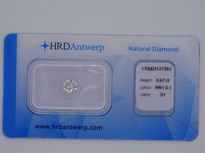 0.67 ct brilliant cut diamond - Colour Rare White (G) - SI1