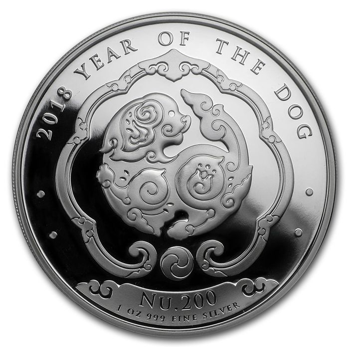 Bhutan - 200 Ngultrum - Year of the Dog - Singapore Mint - Kingdom of Bhutan - 2018 1 oz 999 Silver