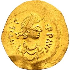 Byzantine Empire – Gold Tremissis of Emperor Mauricius Tiberius 582-602, struck in Constantinople