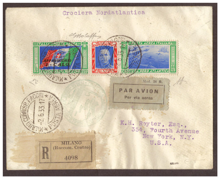 Italy, Kingdom, 1933 – Balbo North Atlantic Crossing, Apparecchio  I--CALO – Franked with airmail triptych, L. 5.25+44.75