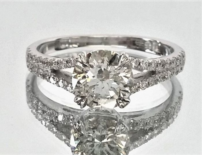 1.32 ct -  Diamond Ring - Center G/SI1 -  14K White Gold - Size : 52 - with IGL Certificate