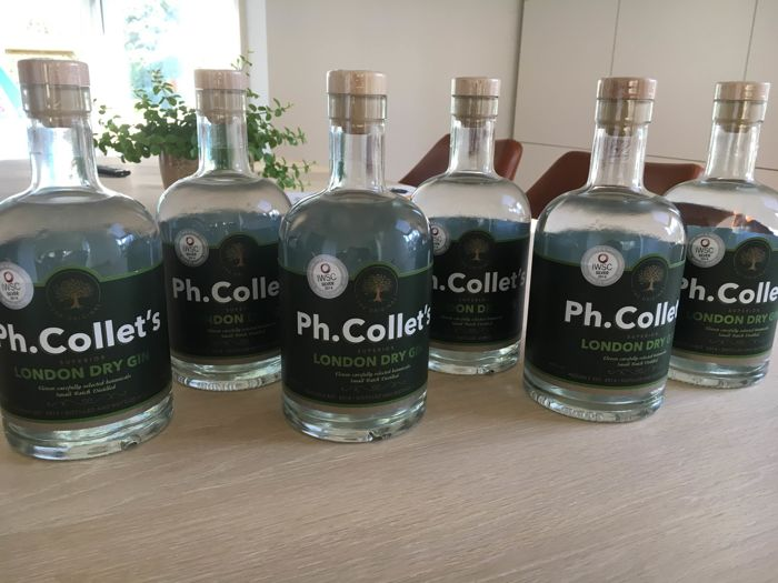 6 Bottles of Ph.Collet's Gin Batch #17, Belgian small batch London Dry Gin, Crafted by hand.