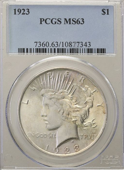 United States - Dollar (Peace) 1923 in PCGS Slab - silver