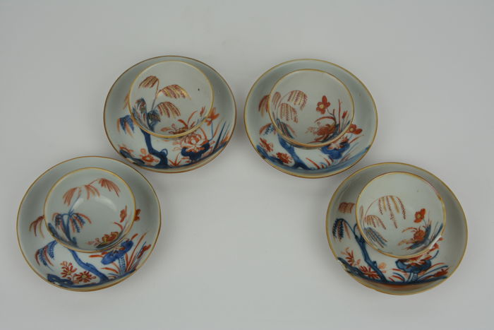 Four cups and matching saucers in porcelain - China - Qianlong (1735–1796)