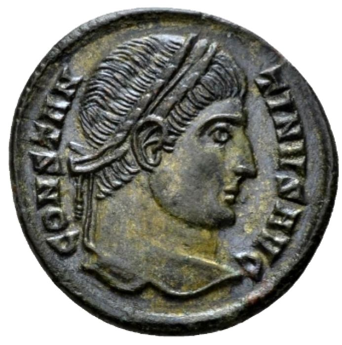 Roman Empire - Constantine I the Great (307-337 A.D.) silvered follis (2,57g. 19 mm). Ticinum mint, 325 A.D. D N CONSTANTINI MAX AVG, VOT XXX within wreath. Scarce.