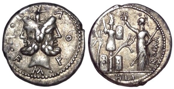 Roman Republic - M. Furius L.f. Philus - AR Denarius (g 3.94; mm 19), mint of Rome c. 119 BC - Head of Janus / Roma - Cr. 281/1