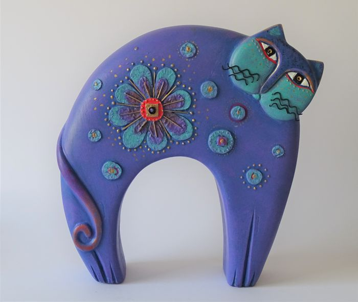 Laurel Burch - Large purple cat