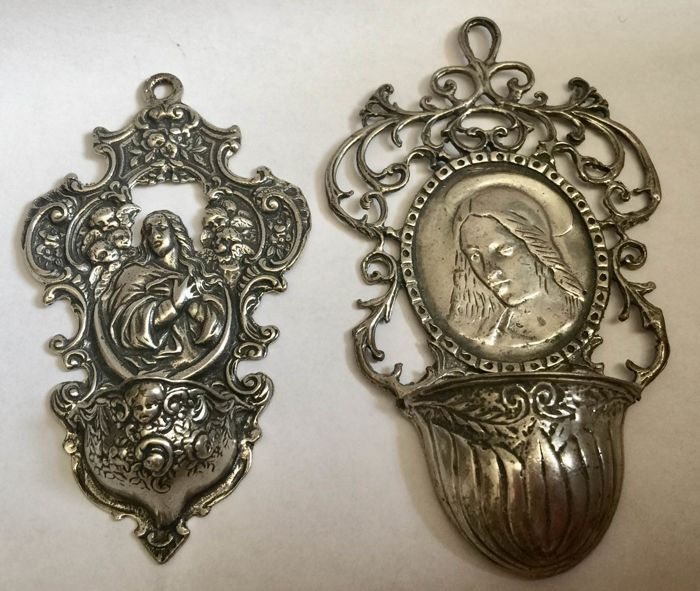 Lot of two finely crafted stoups in silver 800, Italy, early 20th century