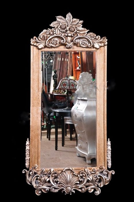 Large crystal mirror in a handmade wooden frame
