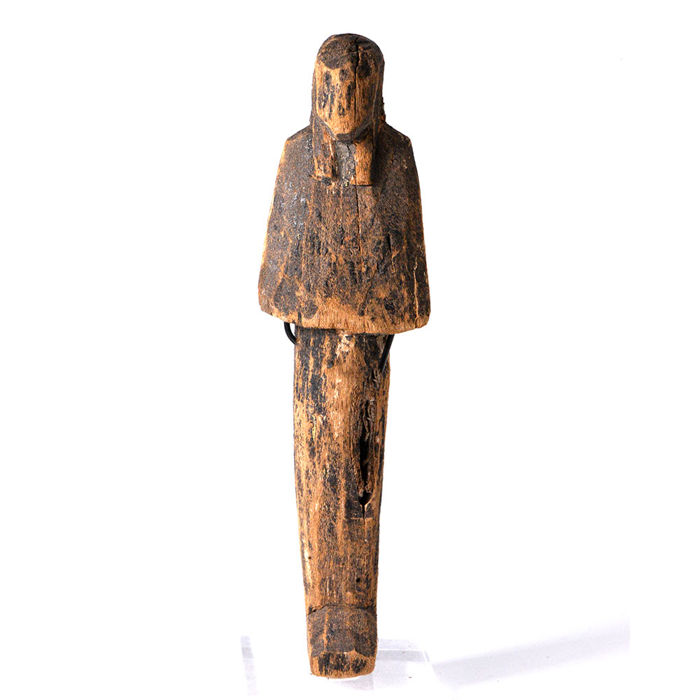 Altägyptisch Holz An Egyptian Wood Shabti - Height: 17.46 cm - (1)