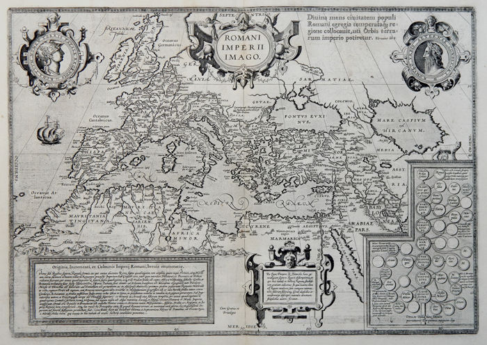 Europe, North Africa, Middle East; Abraham Ortelius - Romani Imperii Imago - 1624