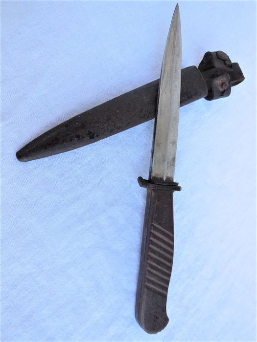 Old Original Trench Dagger/Combat Knife from World War I and Original Metal Sheath