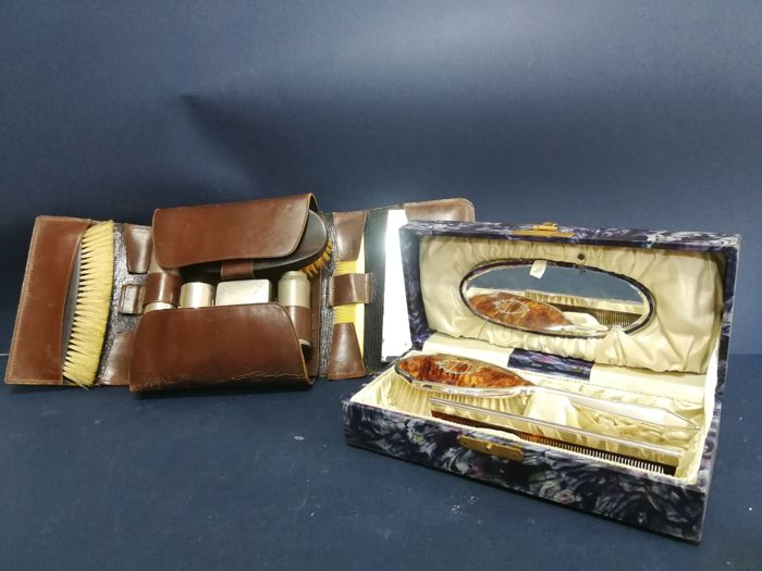 Superb set of brushes with mirror and comb in its own box, and Old English leather men's travel nécessaire, 1900