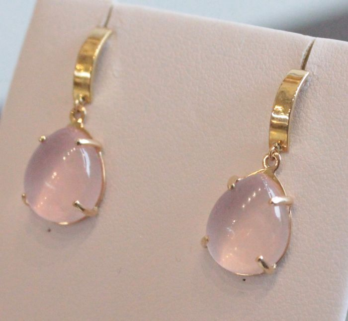 14 kt yellow gold earrings set with quartz - size: 10 x 24 mm