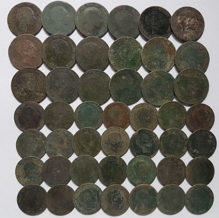 Spain - Lot of 46 Spanish coins (Alfonso XII) 1800 1900 AD - Europe