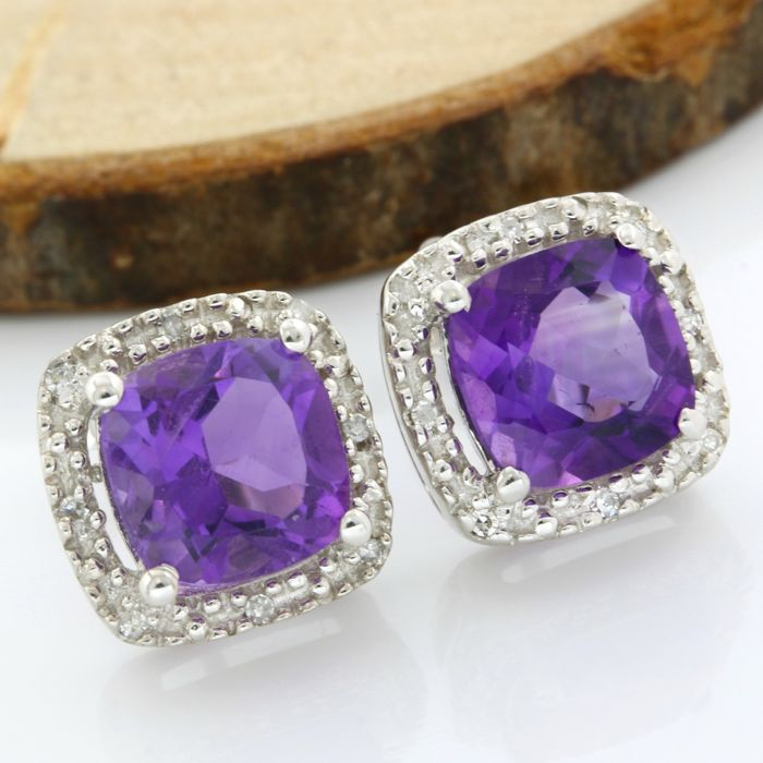 14k White Gold - 6.00 ct Cushion Cut Amethyst and 0.08 ct Round Cut I, SI2 Diamond Earrings