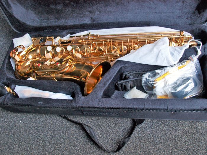 New Chs ed gold coloured Alto saxophone with high F# valve, carrying strap, etc, gold coloured with hard foam case.
