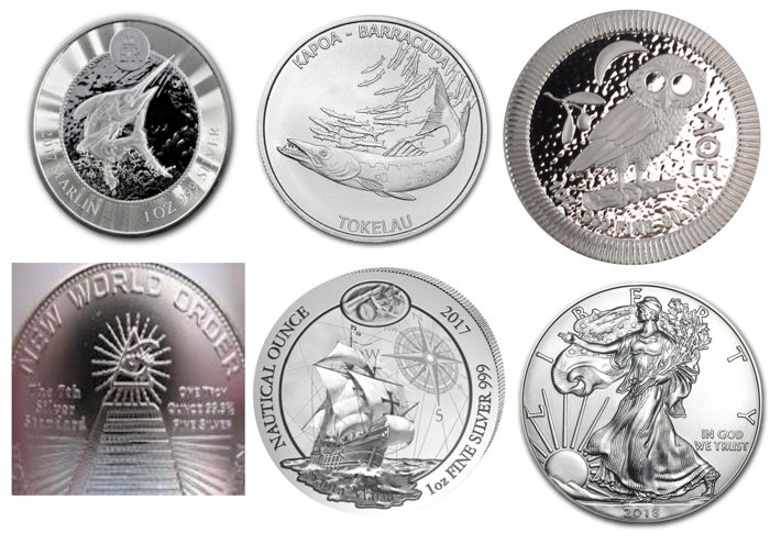 Lot - Collection 6 x 999 Silver Coins - International - Blue Marlin - Barracuda - Owl of Athens - Nautical Ounce - Silver Eagle - New World Order