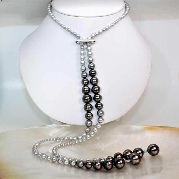 Great beautiful scarf necklace Ø 3x12mm - saltwater cultured pearls - 925 Silver