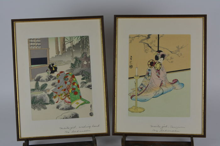 Two reprints of woodcuts by Hasegawa Sadanou 3 (1881–1963) (reprint) - Japan - c. 1950
