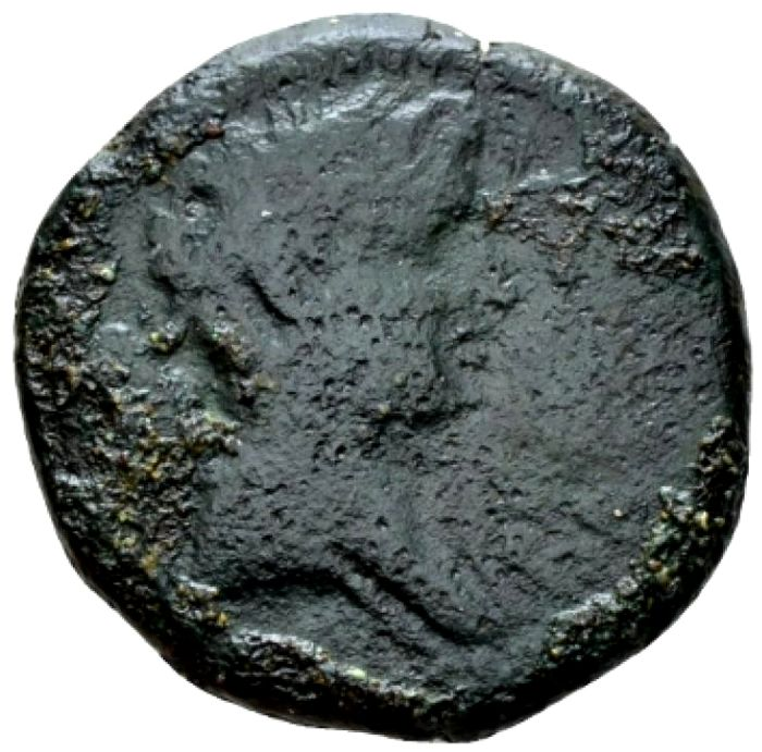 Roman Empire -  Kingdom of Mauritania and Numidia. Juba II  (25 B.C-23 A.D.), AE 28 (3,38 g.). Caesarea. REX IVBA Diademed head / ΚΛΕΟΠΑΤΡΑ ΒΑCΙΛΙCCΑ Crown of Isis. Rare coin.