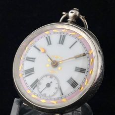 Swiss silver pocket watch- Pink & Gold dial - Unisex - ca. 1910