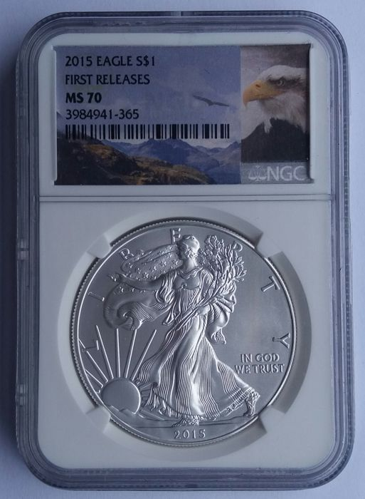 United States - 1 dollar 2015 - 'Eagle' in NGC slab MS70 - 1 silver oz