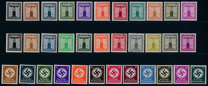 German Reich - 1938 -1944 - official stamps, eagle on pedestal and swastika in oak leaf, Michel 144 - 177