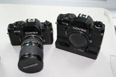 complete Contax outfit - 2 RTS bodies , power  wind , 6 lenses and flash gun