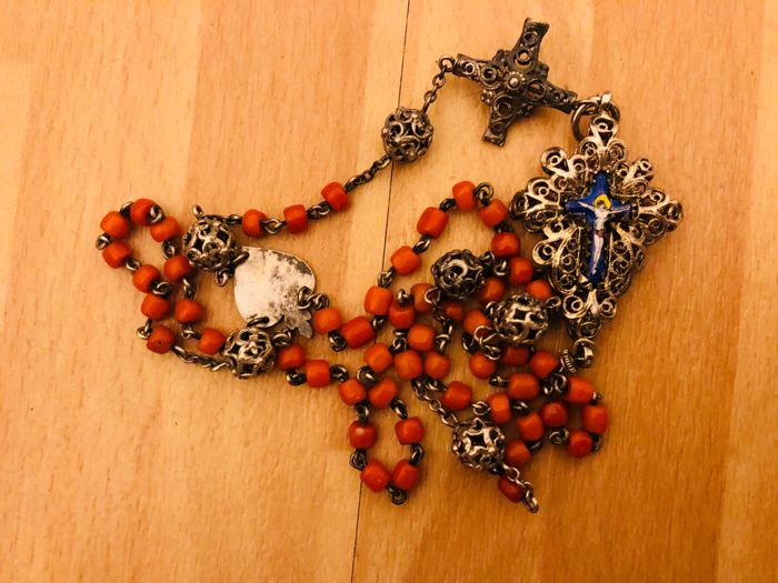Antique silver - enamel rosary with beads, Italy ca. 1900