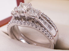 1.15 Ct  - elegant diamond ring set - 14k white gold -  **NO Reserve price**