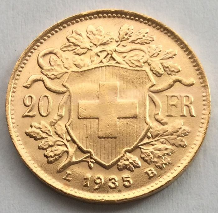 Switzerland - 20 francs 1935 L B 'Vreneli' - gold