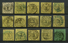 Württemberg 1851 – 1902 small collection on plug-in cards