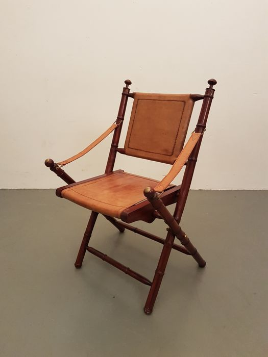 A Folding Officersu0027 Chair   Teak, Leather And Copper