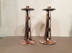 Pair of Art and Craft candlesticks