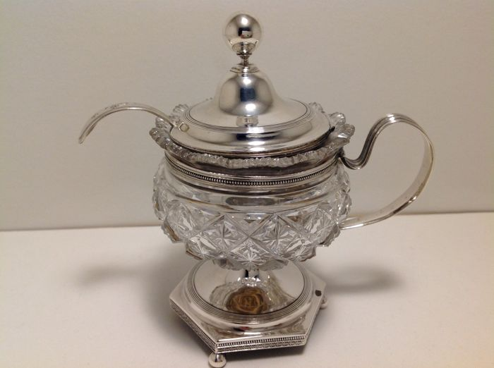 1st content silver and crystal mustard pot, Hendrik Smits Amsterdam, 1812-1836