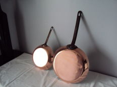 Set of two beautiful TOURNUS frying pans 26 cm and 21 cm professional tinned brass ca 1960
