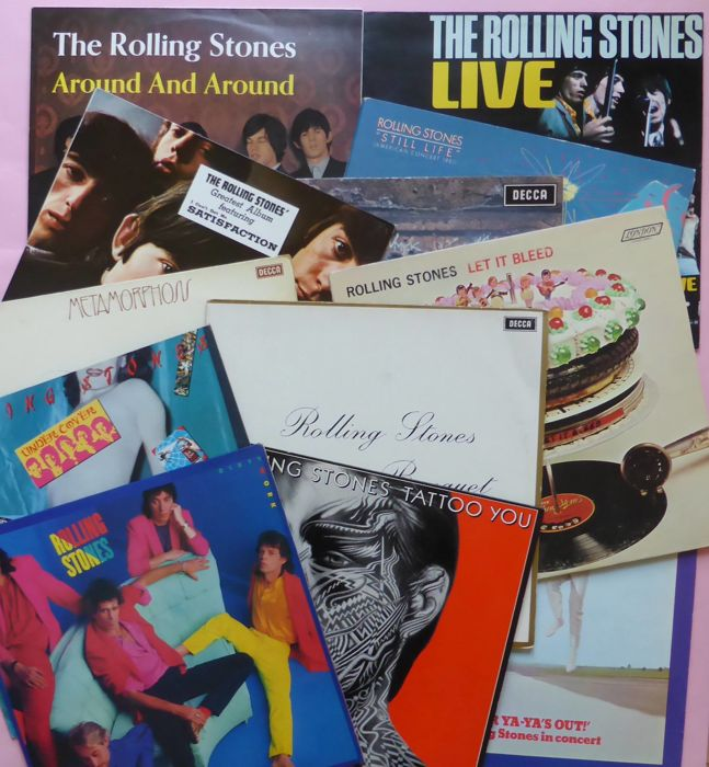 Lot of 12 legendary Rolling Stones albums, including 3 live albums, live 1966, live 1969, live 1981 + 9 studio albums