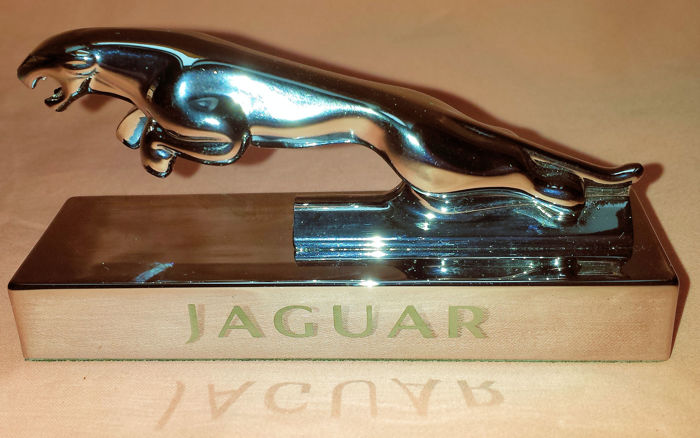 Jaguar mascot - leaping cat on chrome base - 9.5 x 5.5 x 3 cm