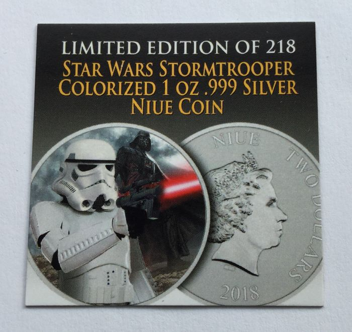 Niue 2 Dollars 2018 Star Wars Stormtrooper Darth Vader Colour