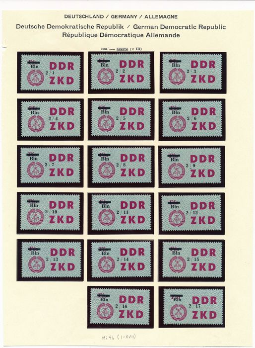 Germany GDR - 1964 - motion control slip of the ZKD (Zentraler Kurierdienst, or Central Courier Service), Michel 46 - 60 (84 values)