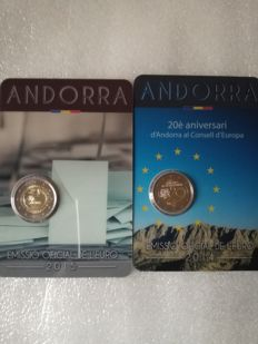 Andorra – 2 EURO 2014 20th Anniversary of (Andorra within the EC and 2 EURO 2015 30th anniversary of adulthood at 18 years of age